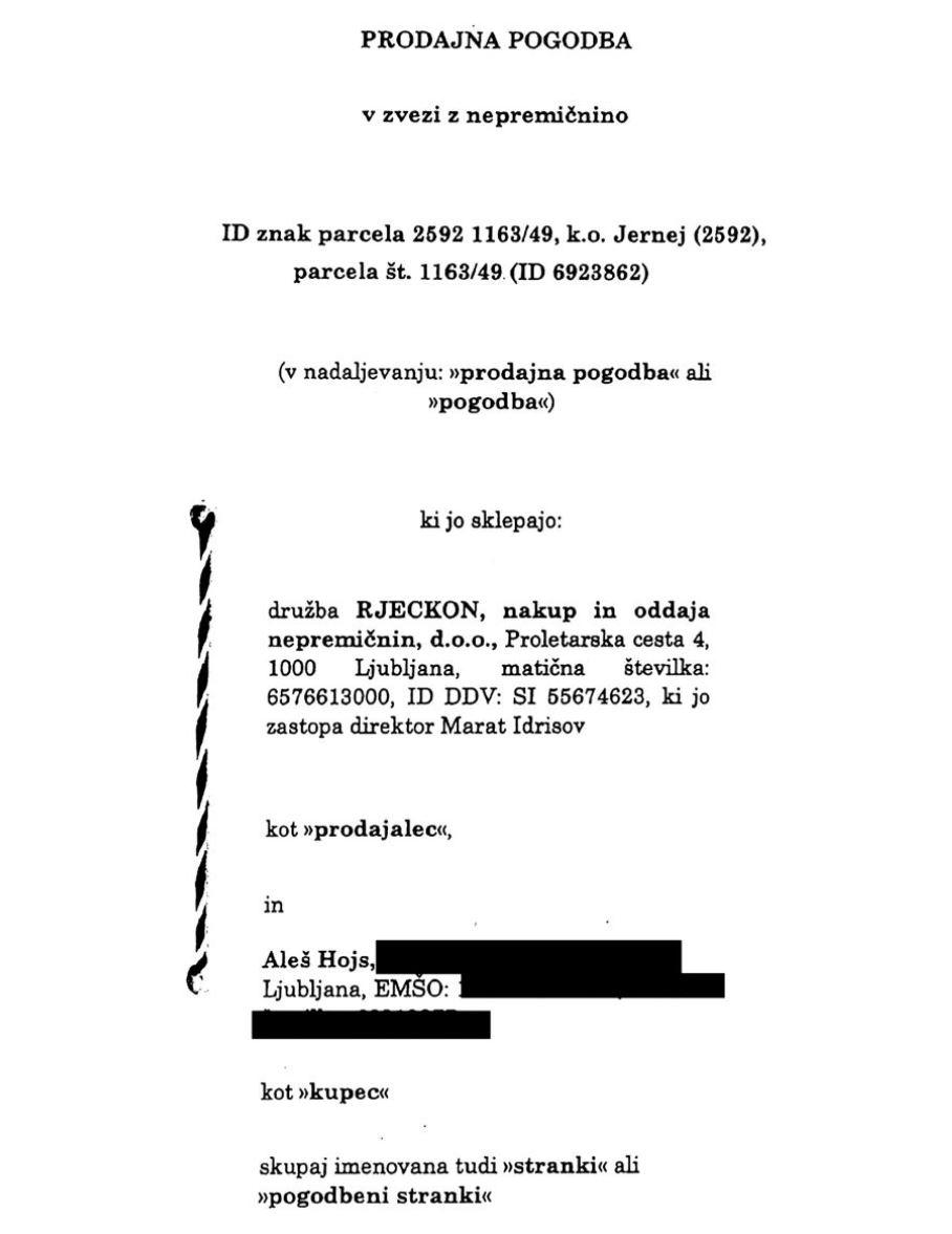 Pogodba o nakupu parcele - primer Aleša Hojsa Vir:Mladina
