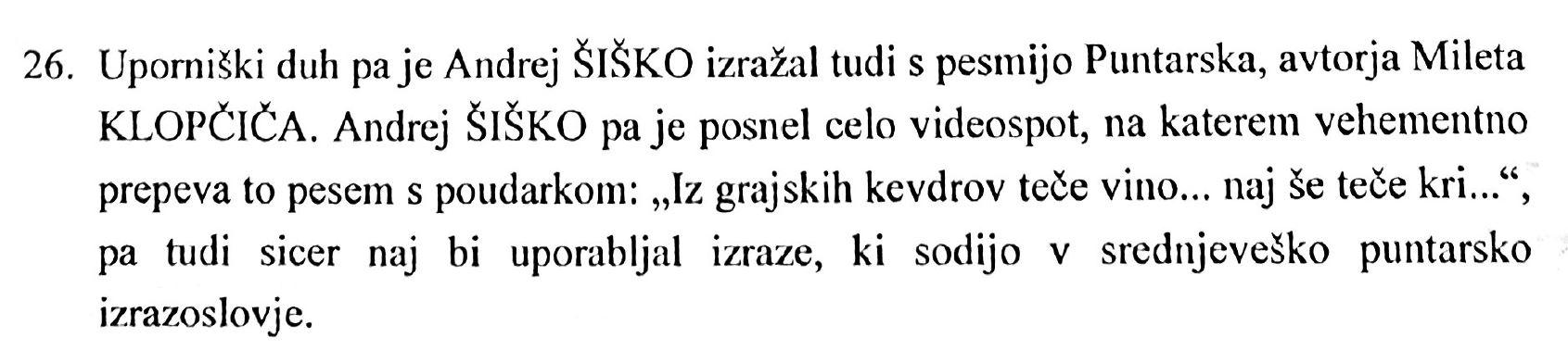 Sklep Okrožnega sodišča Maribor, 26.27. točka, Andrej Šiško