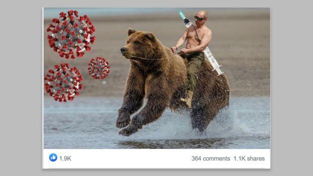 Putin in cepiva - fotomontaža