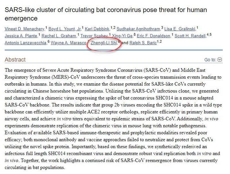 Članek o netopirjih in virusih ter raziskavah SARS-a
