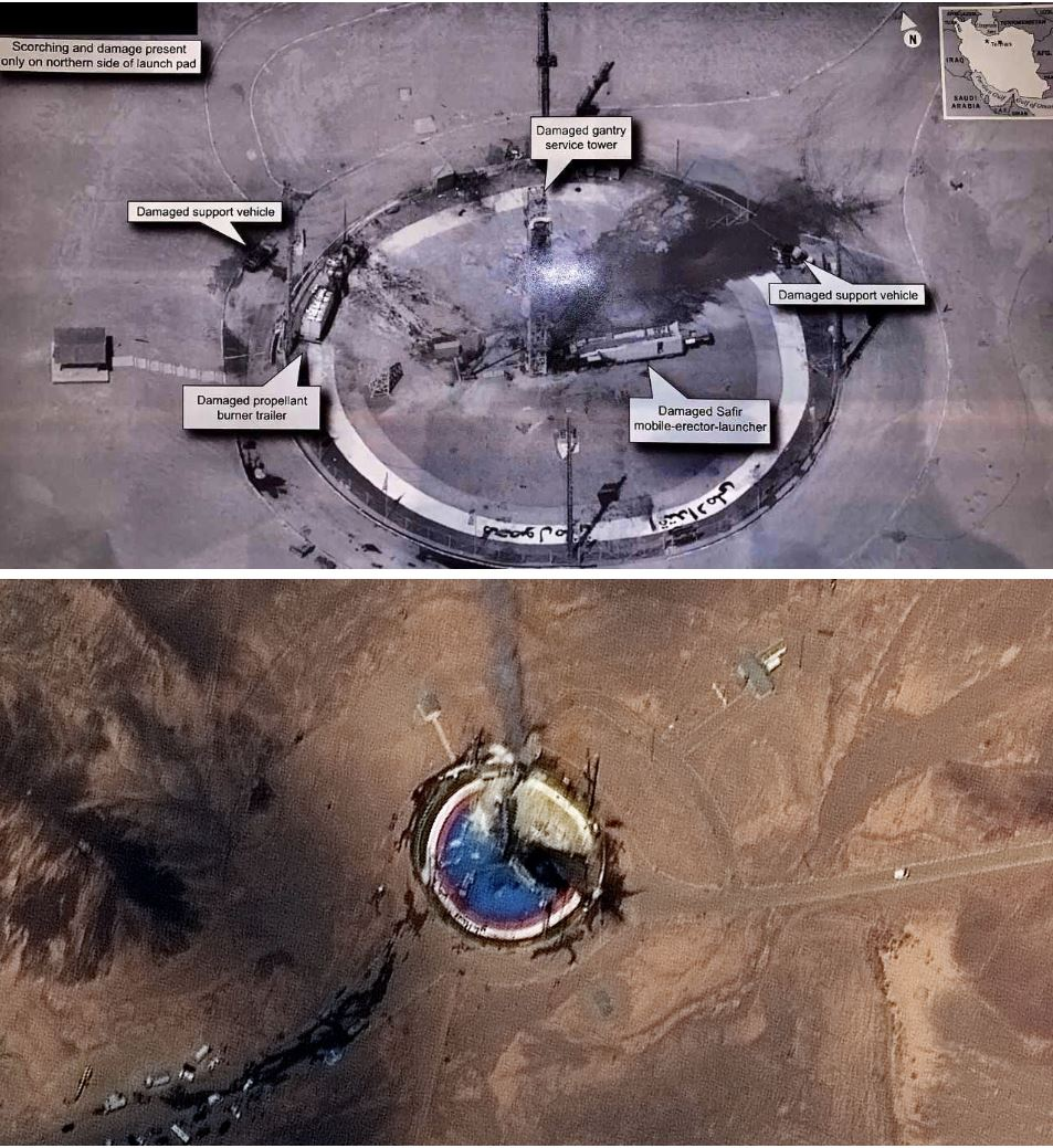 Slika uničenja po neuspešni izstrelitvi rakete