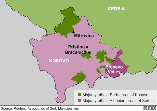 Kosovo in srbska manjšina (zeleno)
