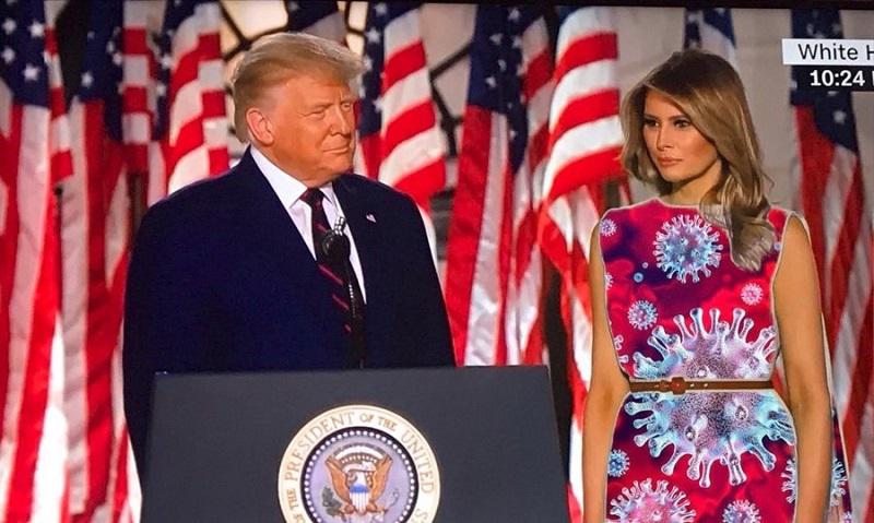 Melania Trump z izbiro zelene obleke razveselila programerje in postala tarča zabavnih manipulacij