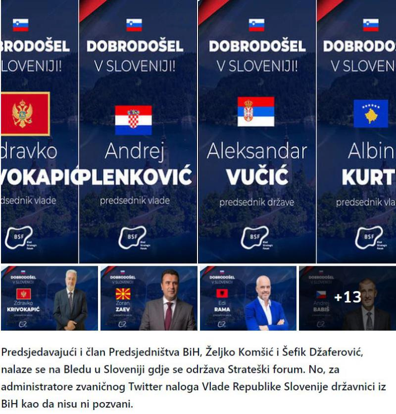 V BiH besni nad »pozabljivostjo« slovenske vlade: »Slovenska vlada na Twiterju ignorira Komšića in Džaferovića!«