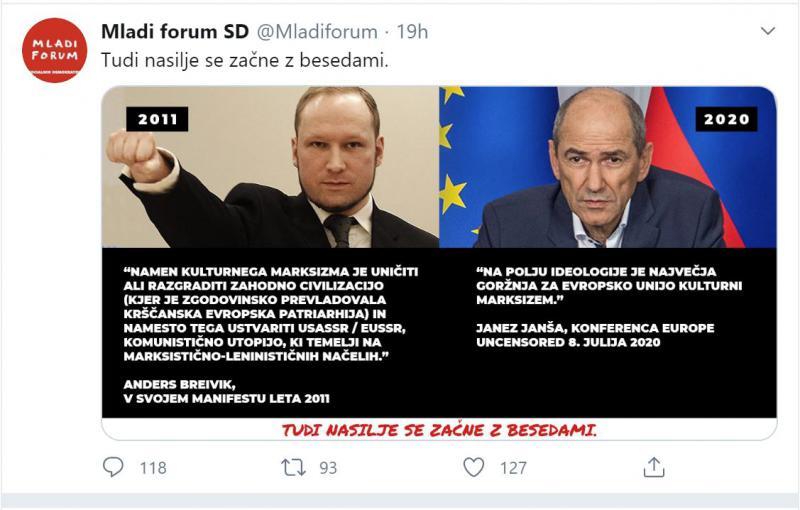 Neiskreno: Janez Janša obžaloval obletnico zločina terorista Breivika, ki uporablja podobno retoriko, kot on sam