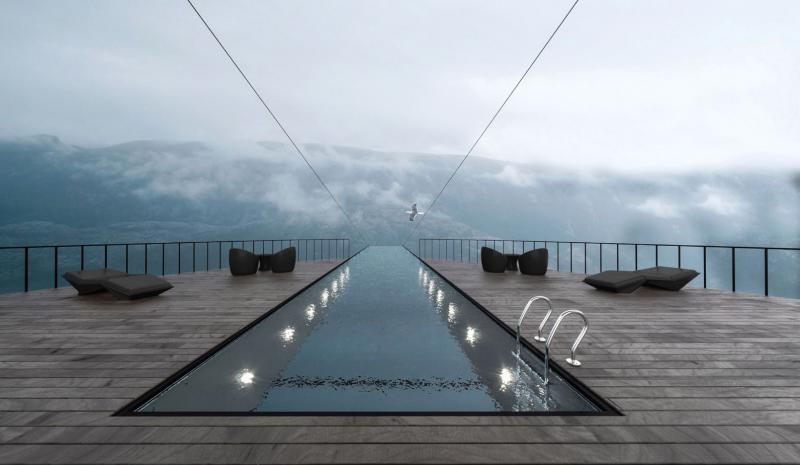 Ni za tiste s slabim srcem: bazen, da te kap. Bi si upali plavati v njem?