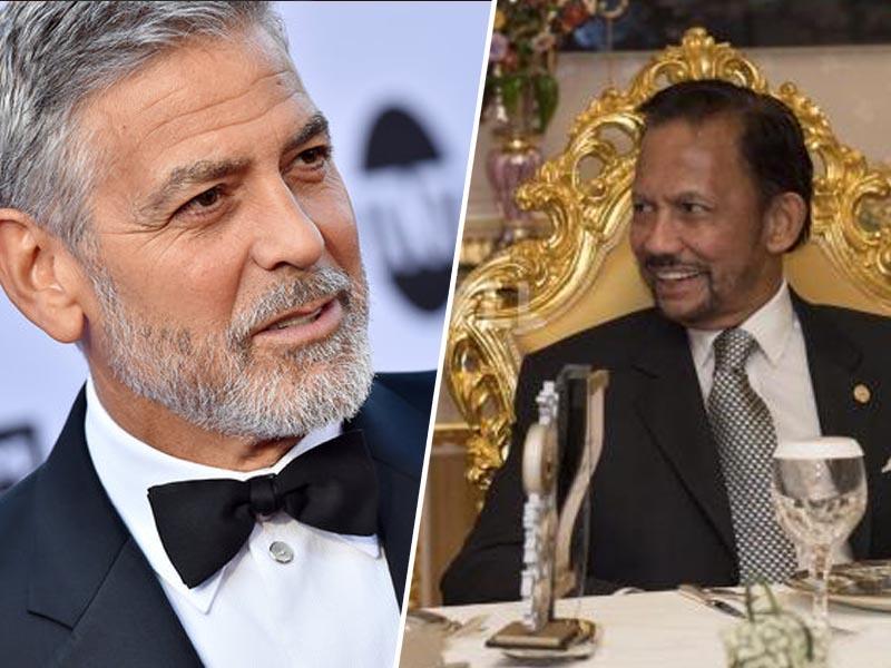 Clooney kritiziran zaradi poziva k bojkotu hotelov v lasti krutega sultana, ki je uvedel smtno kazen s kamenjanjem