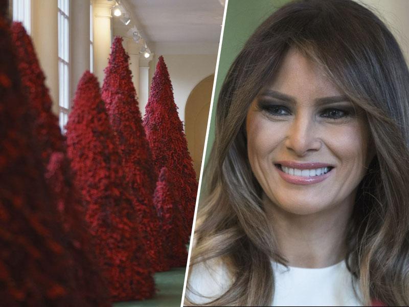 Melania uvedla novo modo: njena rdeča božična drevesca iz Bele hiše so postala pravi hit v ZDA