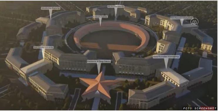Polmesec in zvezda: Erdoğan napovedal gradnjo »turškega Pentagona«, novega sedeža obrambnega ministrstva