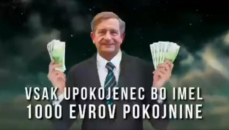 S.O.S.: »Karl Erjavec, minister za vse. Pokojnine v oblake – vsak upokojenec bo imel 1000 evrov pokojnine«
