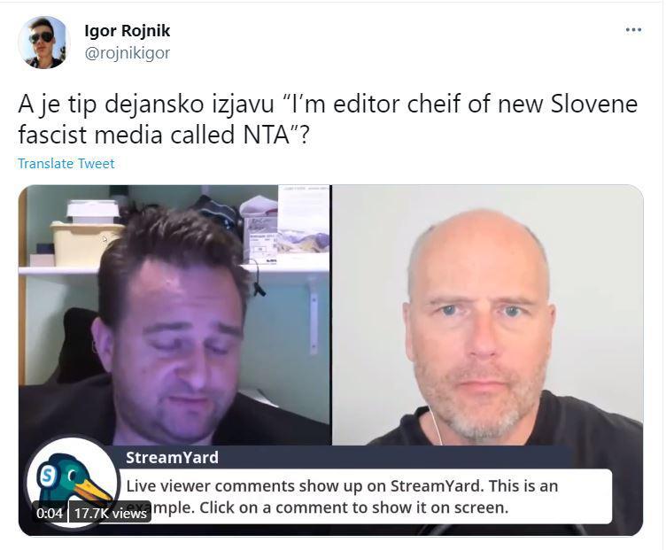 »Sem glavni urednik novega slovenskega fašističnega medija, ki se imenuje NTA«