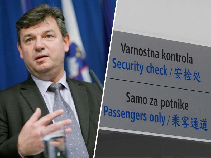 Škandalozno: ministrstvo z zlaganimi trditvami odstranilo napise na letališču v Mariboru