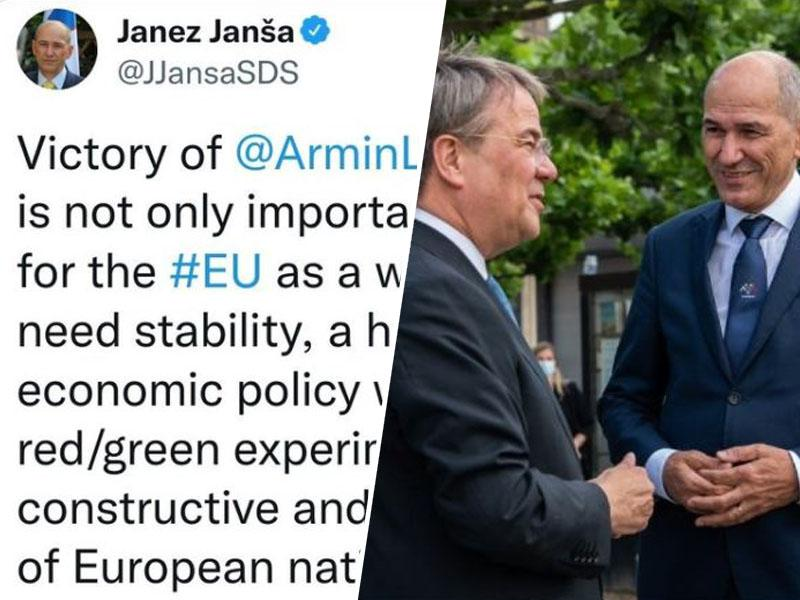 Blamaža s čestitko Trumpu za zmago mu ni bila dovolj, Janša za zmago na volitvah v Nemčiji čestital poraženemu Laschetu