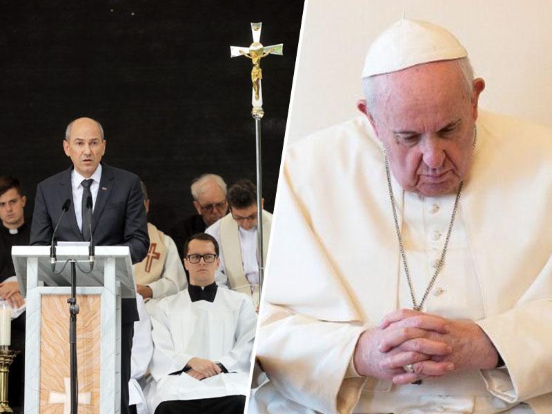 Predsednik vlade z vladne prižnice o »božjih očeh« in molitvi, papež v Vatikanu pa o svetovnem problemu