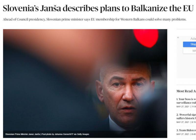 Politico: »Slovenski Janša opisal načrte za balkanizacijo EU«