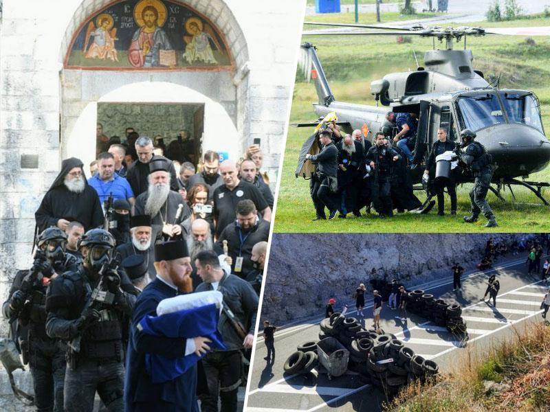 Blokada pristašev vožda Črne gore Đukanovića »prebita« s helikopterjem, mitropolit SPC Joanikije ustoličen na Cetinju