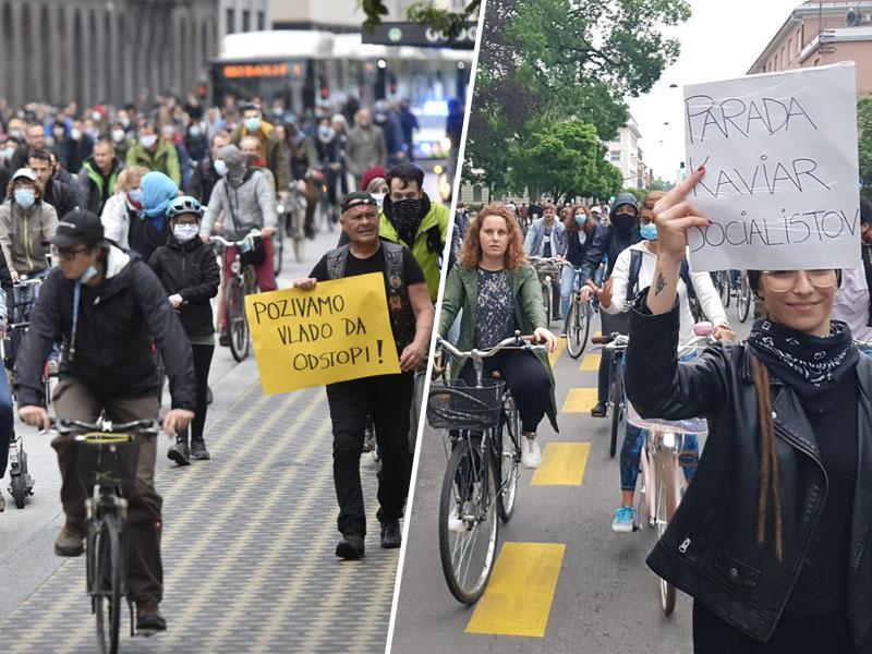Demokratura: Pred parlamentom vojska, nekoč zombiji, danes »kaviar socialisti«, cilj pa enak - odhod arogantne vlade