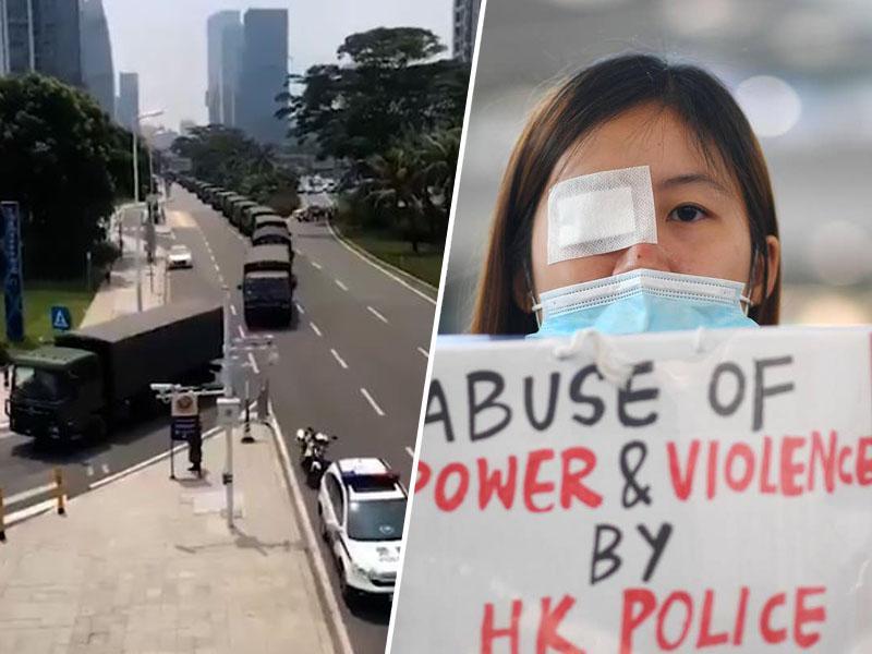 »Nekaj zelo slabega se bo zgodilo.« Kitajska vojska se že zbira le 30 kilometrov od meje s Hongkongom