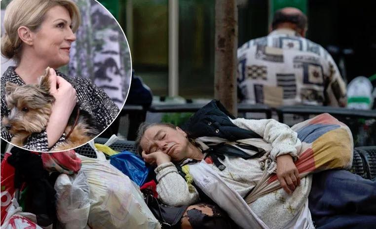 Kolinda trdila, da v Zagrebu ni brezdomcev, ki so jo nato besno ošteli: »Idi ven iz blindiranega avta, pa se sprehodi!«