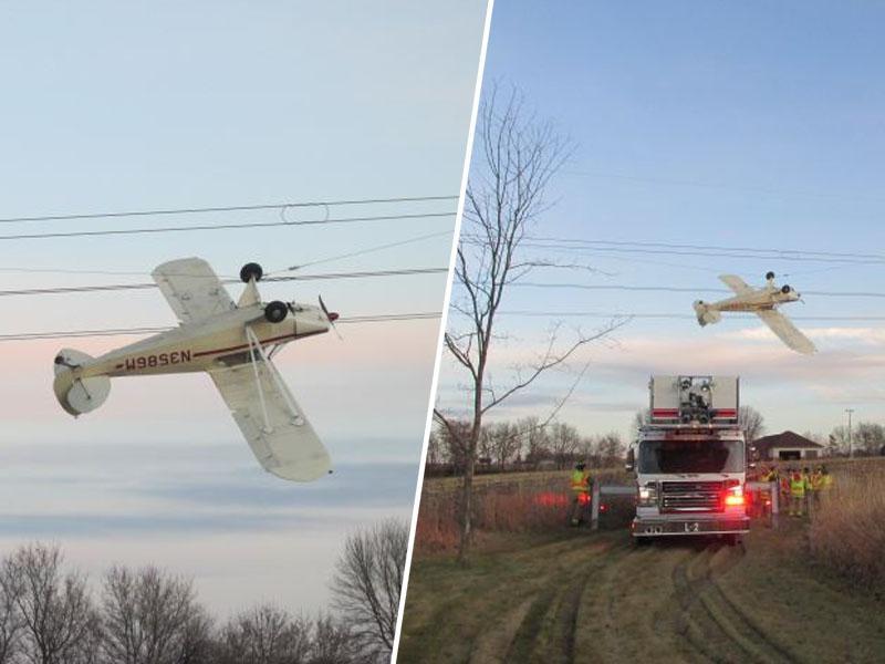 Letalo se je zapletlo v žice daljnovoda, pilot odkorakal nepoškodovan