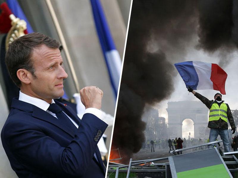 Macron v tajnosti pripravlja referendum, da bi ustavil gibanje »rumenih jopičev«