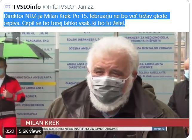 »Direktor NIJZ-ja Milan Krek: Po 15. februarju ne bo več težav glede cepiva. Cepil se bo torej lahko vsak, ki bo to želel.«