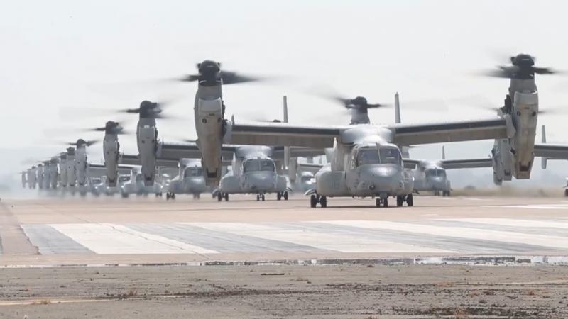 Ustrahovanje: ameriški marinci z množičnim vzletom helikopterjev strašili nasprotnike ZDA