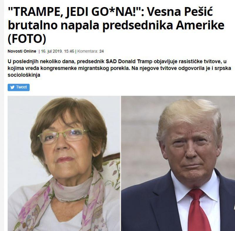 Sporočilo Vesne Pešić: »Jejte dr*k gospod Trump!«