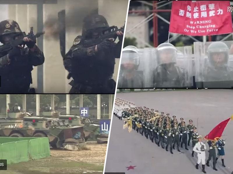 Protivladni protesti: hongkonška garnizija grozi z nasiljem, ki ga kaže njen propagandni video