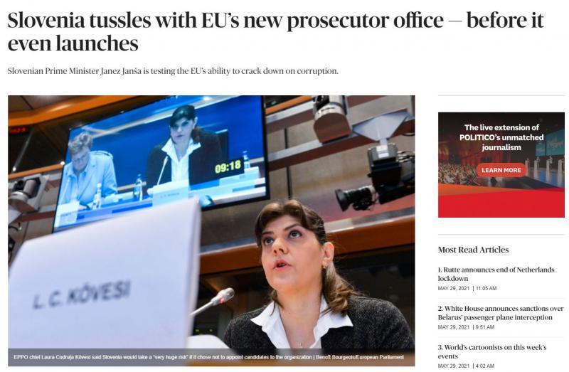 »Slovenija že spodkopava evropsko tožilstvo in to še preden je sploh začelo delovati!« opozarja bruseljski Politico