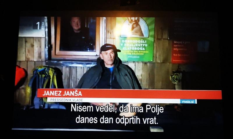 Izkrivljeno, pristransko, nepošteno: RTV Slovenija neresnično poročala o srečanju Janše s protestniki na Kredarici