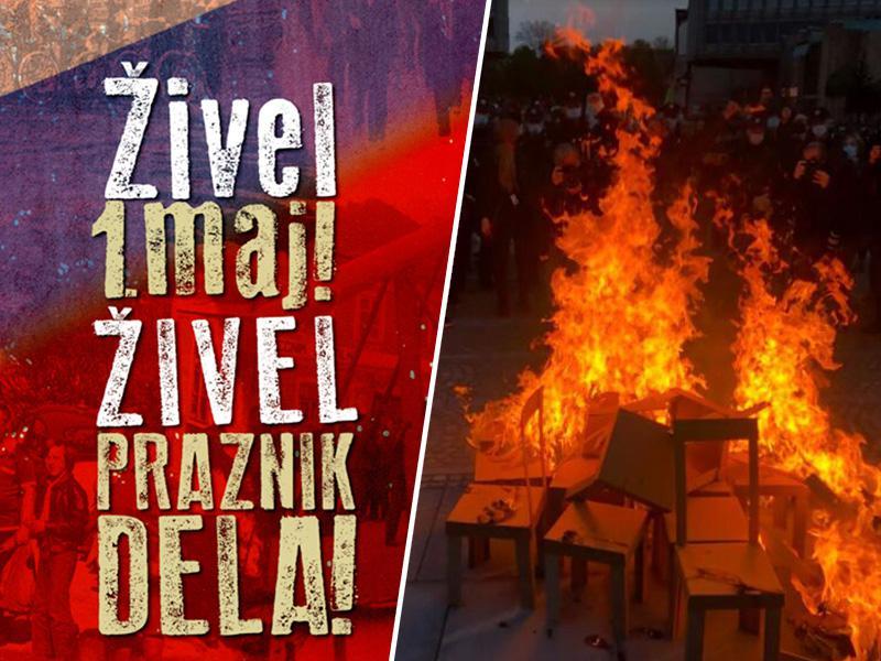 Praznični prvi maj: Protestniki s kresom poslanskih stolčkov napovedali nove delovne zmage!