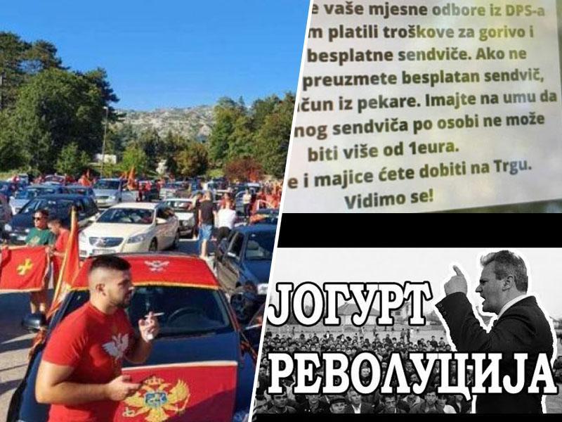 Đukanović po poti Miloševića: Jogurta ni več, ostali pa so mitingi, sendviči in bencin za mitingaše