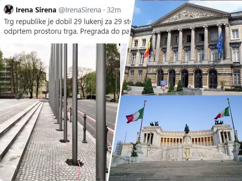 Slovenska vlada se požvižga na evropske vrednote, hkrati pa svoje napake skriva s sramotnim zidom iz evropskih zastav