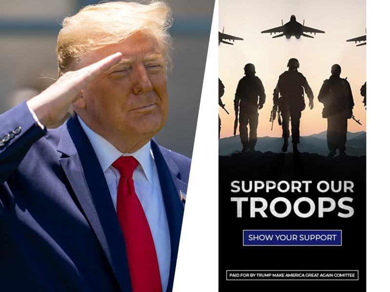 Blamaža: Trumpova kampanja objavila oglas v podporo ameriški vojski s sliko ruskih letal in kalašnikovke!