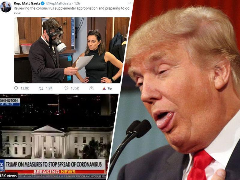 Republikanski kongresnik prišel na zasedanje s plinsko masko, Trump sporoča: »Če imate koronavirus, lahko greste na delo!«