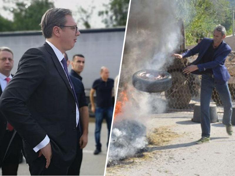 Kaos na Kosovu: predsedniku Srbije z gorečimi barikadami onemogočili obisk Srbov