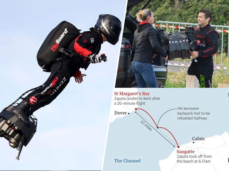 Uspešen drugi poskus: Franky Zapata z revolucionarno letečo desko preletel Rokavski preliv
