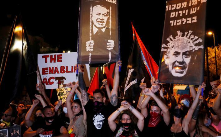 Protesti proti Netanjahuju Vir:Twitter, RT
