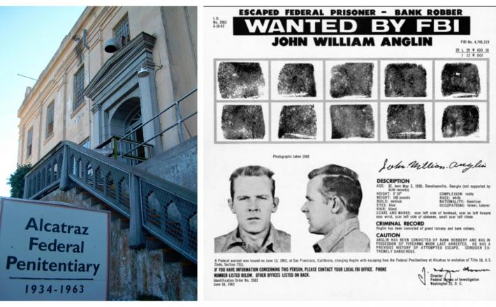 Zloglasni zapor Alcatraz in razpisana tiralica FBI za prijetje Johna Anglina