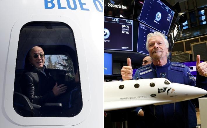 Bezos in Branson  VIr:Twitter