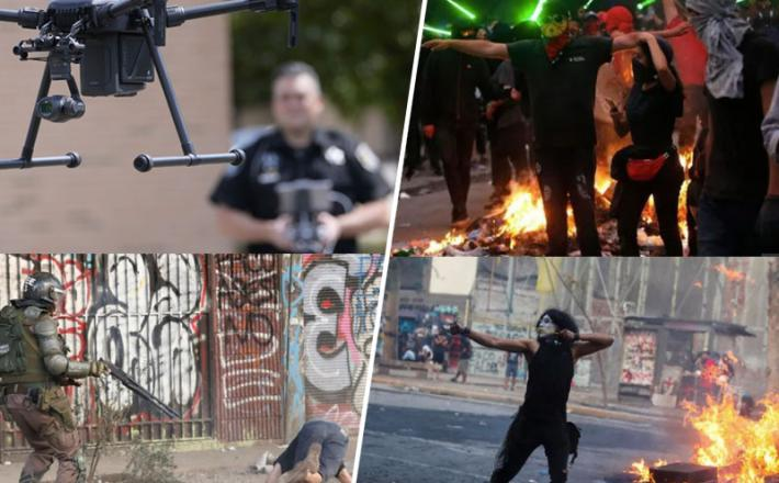 Policija, letalniki in demonstranti