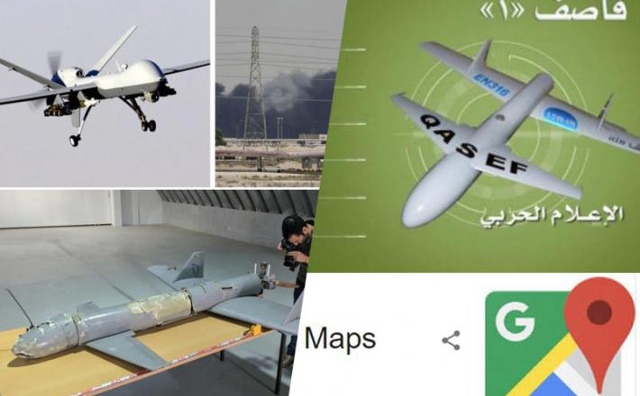 Napad z droni, s pomočjo programa Google Maps