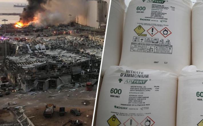 Eksplozija v Bejrutu - amonijev nitrat
