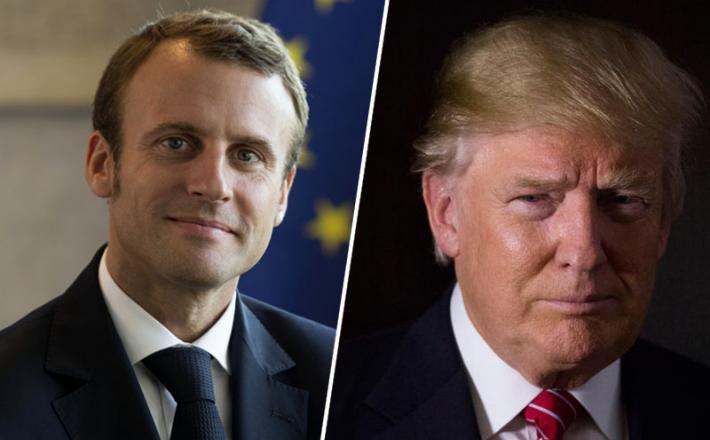 Emmanuel Macron in Donald Trump