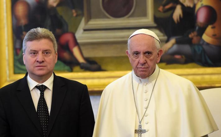 Gjorge Ivanov in papež Frančišek Vir:Pixell