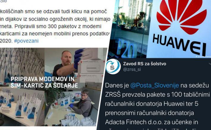 Huawei podarja tablice in modeme slovenskim otrokom