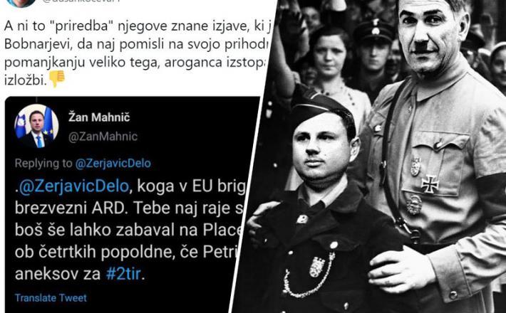 Mahnič in Janša: vajenec in učitelj pritiskov na medije Vir: Twitter, Mikstone