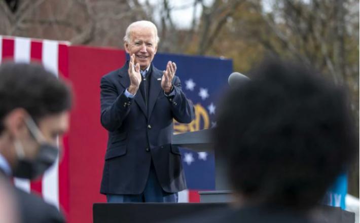 Joe Biden se je odločil za skormno slovesnost ob prisegi. Vir: Twitter
