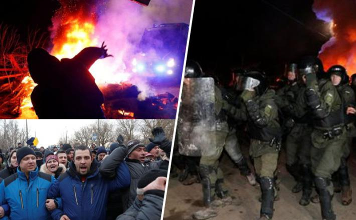 Koronavirus - protesti zoper evakuirane v Ukrajini